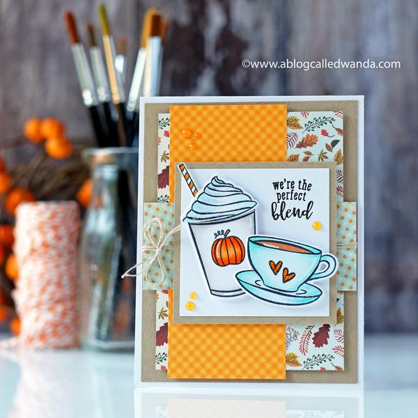 Hero Arts My Monthly Hero Kit August 2018. Coffee theme. Pumpkin Latte card