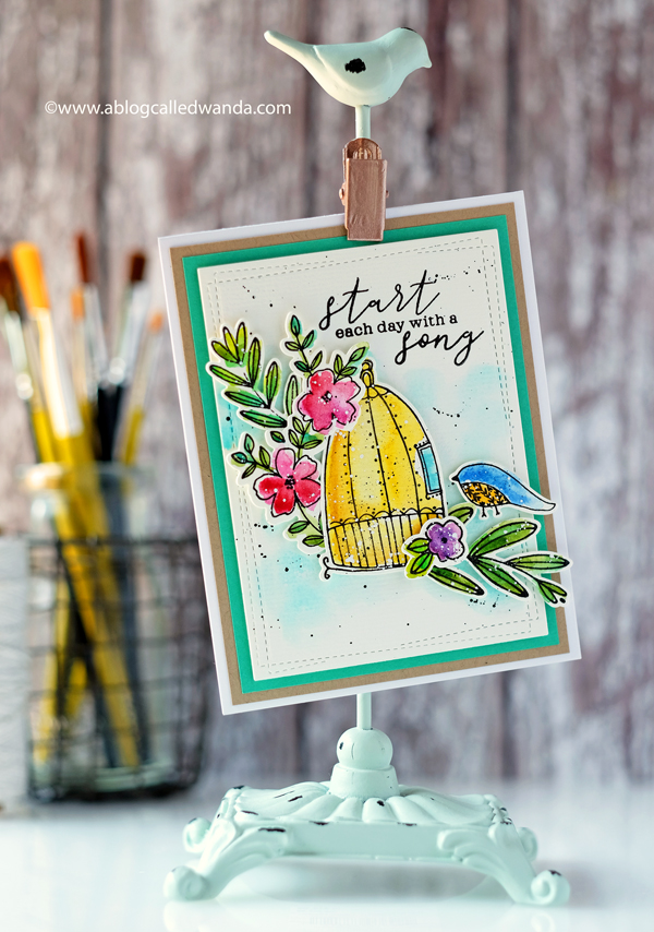 Pink Fresh Studio stamps and dies. Aviary and Fleur. Wanda Guess. Watercolor