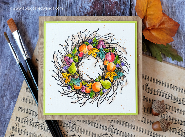 Autumn wreath watercolor card. PSX stamps. Mijello Mission watercolors