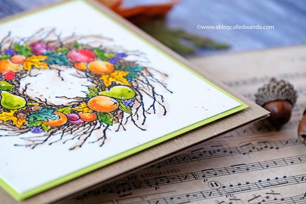 Finetec Gold paint splatters. Pear Wreath watercolor card