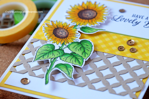 Hero Arts Sunflower Stem wood stamp. Copic Markers