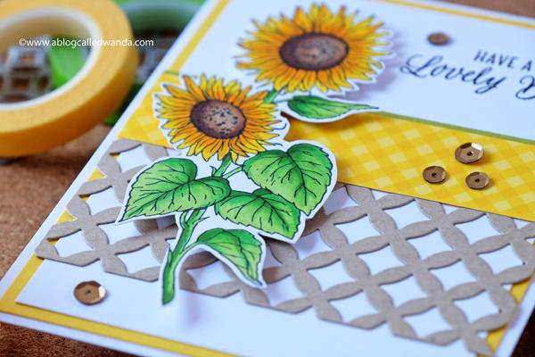 Hero Arts Sunflower Stem wood stamp. Copic Markers