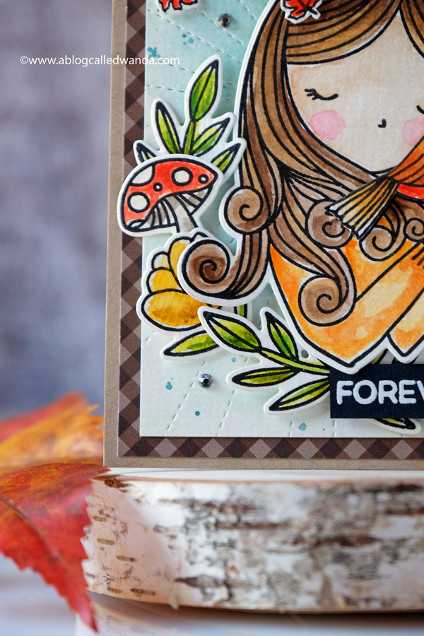 Fall themed watercolor card. Stamping and die cutting.