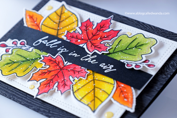 autumn leaves card colored with pencils