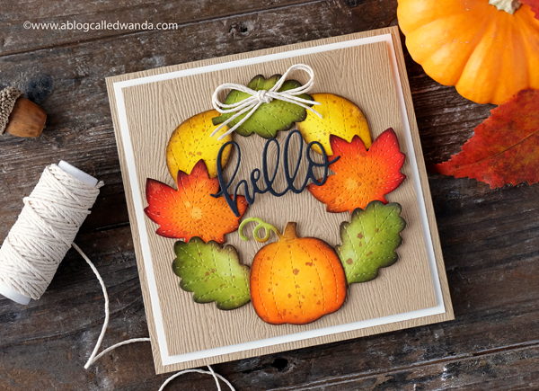 Pretty Pink Posh stitched leaves foliage dies. Distress Ink coloring. Fall Wreath Card