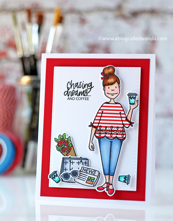Ellen Hutson Essentials by Ellen. Leading Ladies City Lady. Coffee and Dreams. Copic Coloring and paper piecing. Wanda Guess