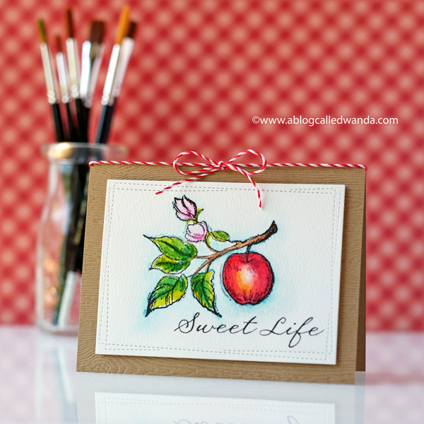 watercolor card with Mijello Mission and stamps