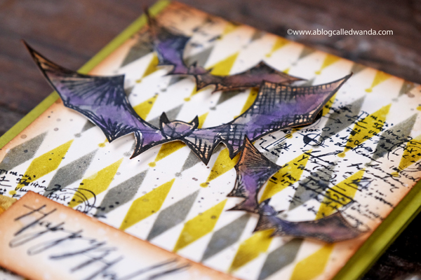 Tim Holtz blueprints stamps. Halloween Card. Diamond stencil.