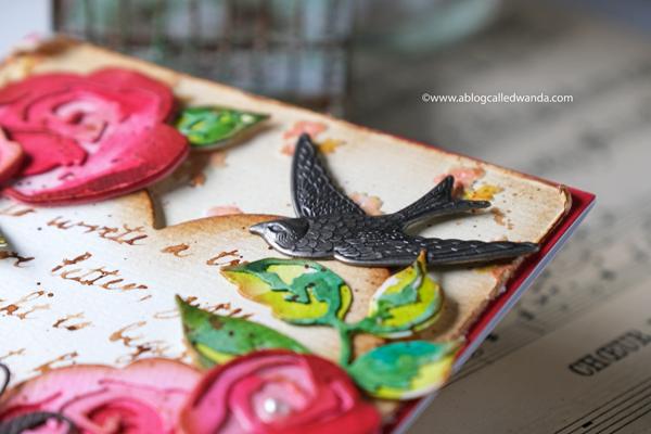 ideaology bird charm. vintage valentine tim holtz