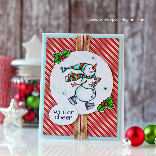 Stampin Up Spirited Snowmen card. Copic Markers and striped papers. Winter card for cheer!