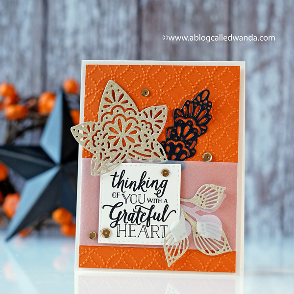 Fall and Autumn leaves card from Stampin Up. Falling for leaves bundle stamp set and dies. Vellum