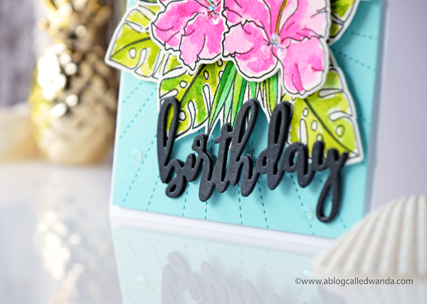 WPlus9 Hibiscus bouquet stamps. Birthday card