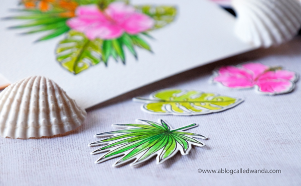 Tropical handmade card with WPlus9