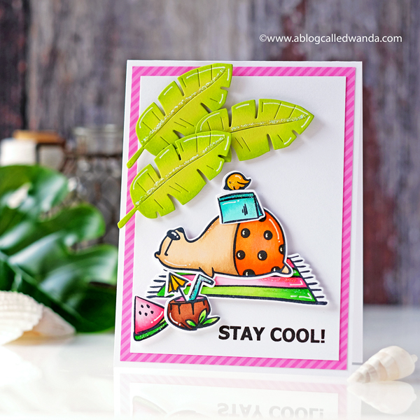 Waffle Flower Stay Cool stamps and Dies. Greenery Dies. Copic Markers beach theme card. Wanda Guess