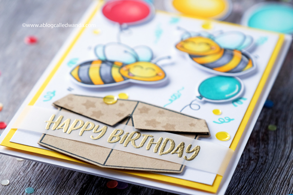 handmade birthday card. balloons and confetti. colored with copics
