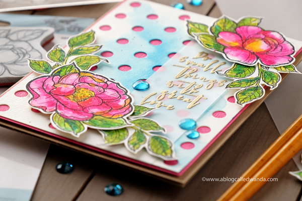 Gold heat embossing on vellum. Mijello watercolors and peony stamps