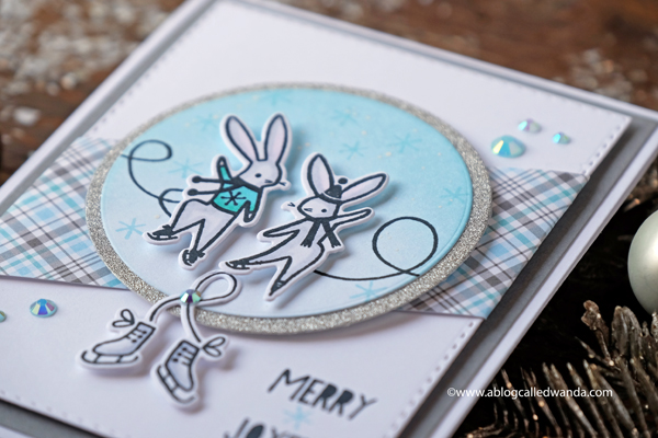 Pinkfresh Studio Bunnies Winter Card silver and blue
