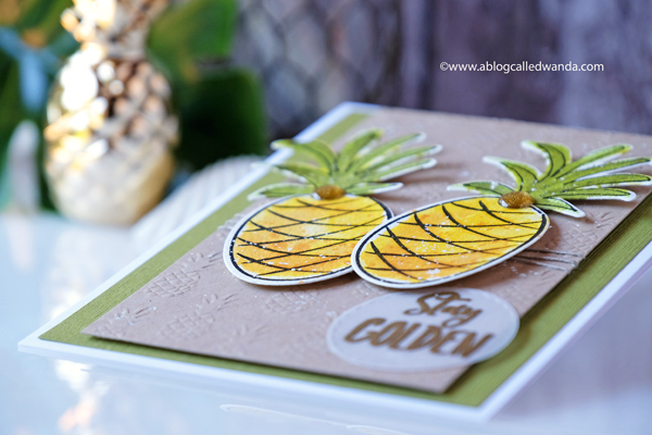 Pineapple watercolor card. Ellen Hutson stamps and dies