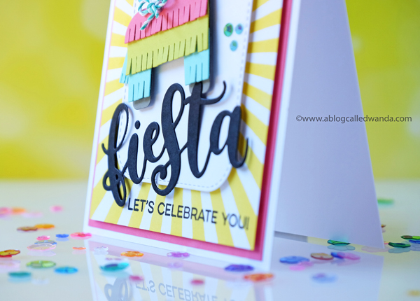 My Favorite Things Pinata and Fiesta Dies. Radiating rays stencil, BIrthday card with bright colors. Wanda Guess