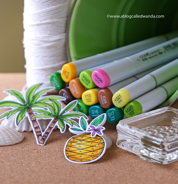 Copic Markers for pineapples and palm trees. WPlus9