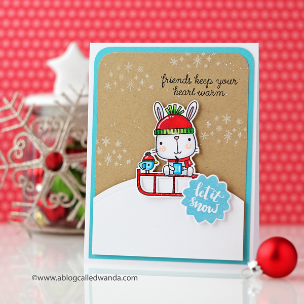 Reverse Confetti Snow Bunnies stamp set. Cute card with a bunny and snowflakes. Copic Coloring