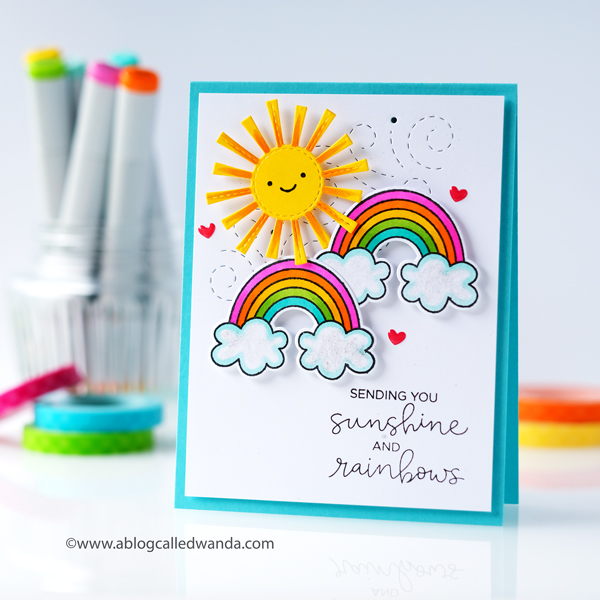 Rainbows and Sunshine card. Avery Elle, Lawn Fawn, Concord & 9th, Hello Bluebird. Copic Markers! Cheerful card DIY