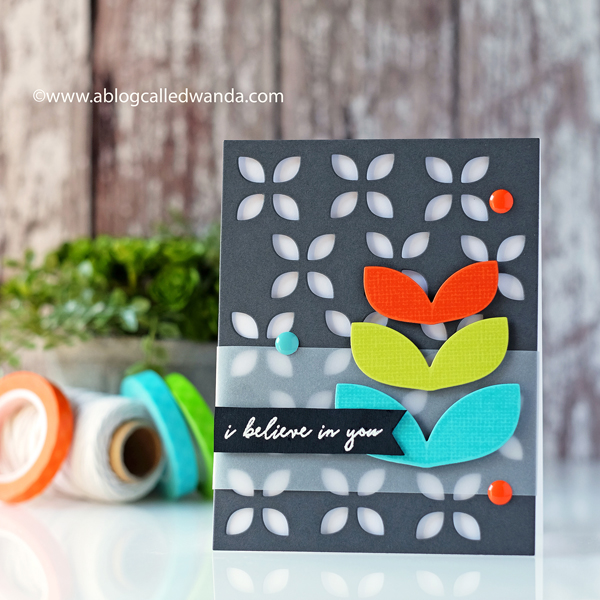 Reverse Confetti Mod Floral Stack stamps and dies. Retro modern card. Eyelet cover plate