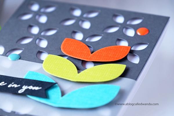 Clean and simple modern card. Retro colors. Reverse Confetti