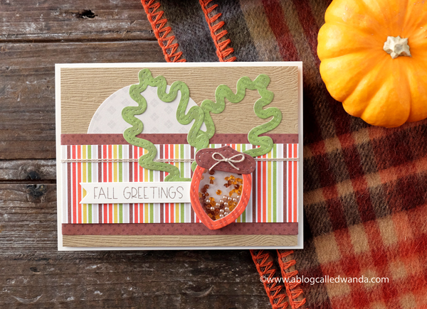 Fall Autumn Leaves Acorn handmade card. stamps and dies. Queen and company