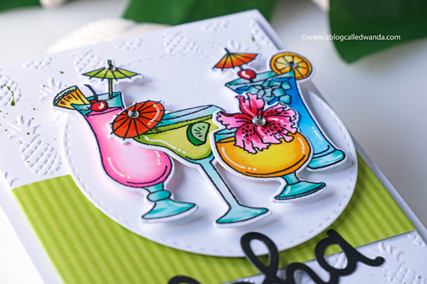 Aloha card! Pineapple embossing folder. Tropical drinks colored with Copics