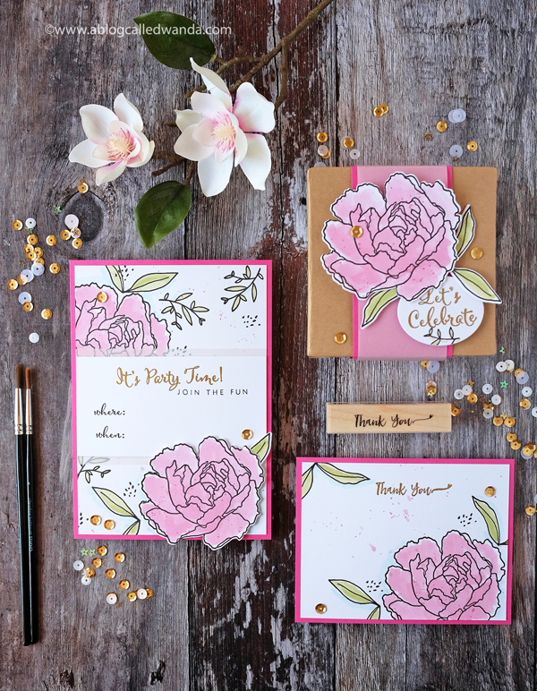 Hero Arts Summer Florals party invitation with peonies and watercolors