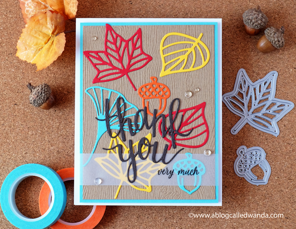 Hero Arts Fall Thank You Card. Autumn Icons dies. Handmade card. Wanda Guess