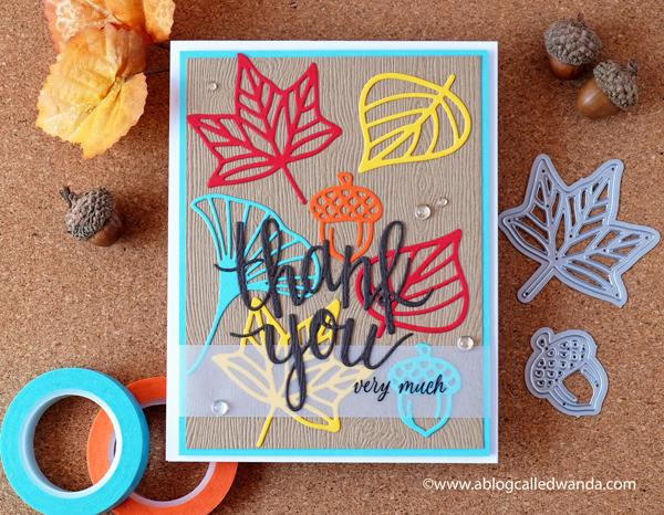 Hero Arts Fall Thank You Card. Autumn Icons dies. Handmade card. Wanda Guess