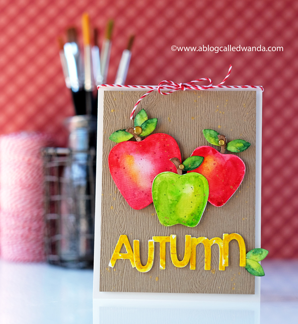 Taylored Expressions apple stacklets dies. Watercolor die cuts apples for autumn