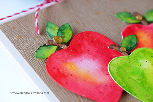 watercolor apples for an autumn card