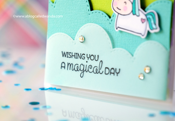 magical unicorn card with cloud dies