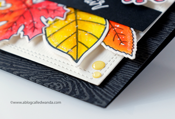 Reverse Confetti Fall Foliage stamp set. Colored with Polychromos pencils. Autumn card
