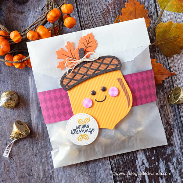 Sunny Studio Stamps Nutty for You dies. Acorn. Treat bag for Fall and Autumn