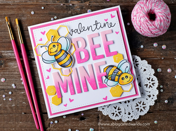 Honey Bee Stamps Bee Mine! Bee Bold alphabet dies. Build a bee stamp set. Copic markers and distress ink Blending