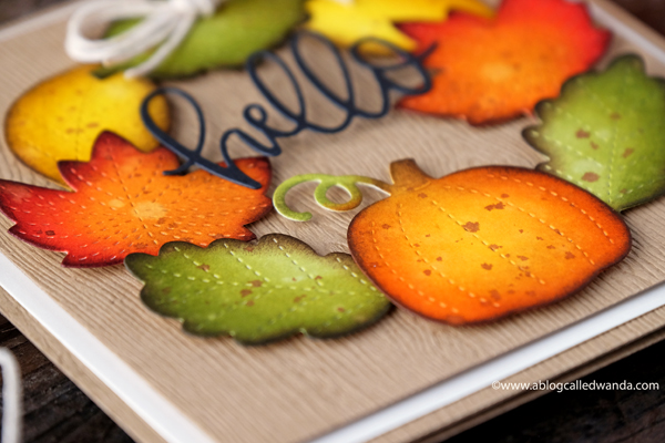 Fall card colored with Distress Inks. Wreath of leaves. Autumn and Thanksgiving