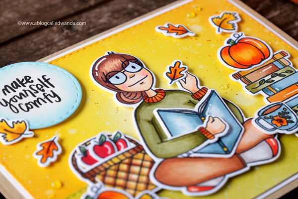 Ellen Hutson Leading Ladies. Fall Card. Cozy Lady and Bookworm Lady