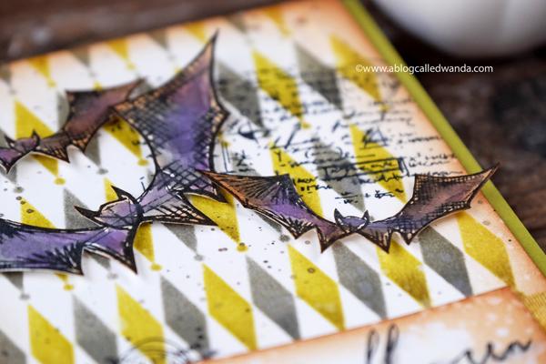 Tim Holtz Halloween Blueprints. Card, distress inks, stencils..