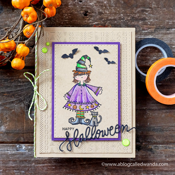 Halloween Card. Colored Pencils on Kraft. Cute witch stamp and background die from Ellen Hutson