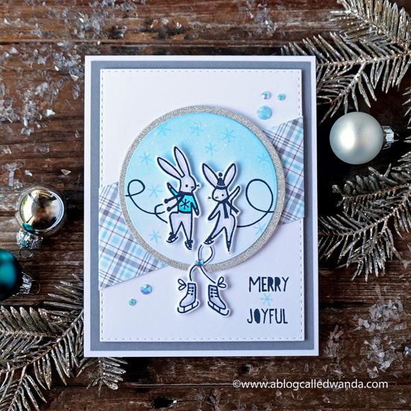 Pinkfresh Studio Skating Bunnies. Winter card or Christmas card. Copics and Lawn Fawn Plaid