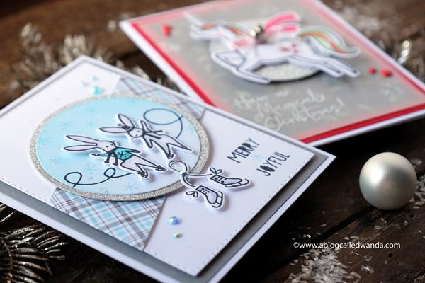 Pinkfresh Studio Holiday Winter Christmas cards. Magical Unicorn and Skating Bunnies