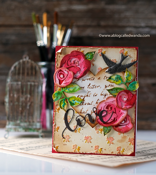 Altenew Rose Flurries Dies. Vintage inspired Valentine Card. Embossing and Distressing.