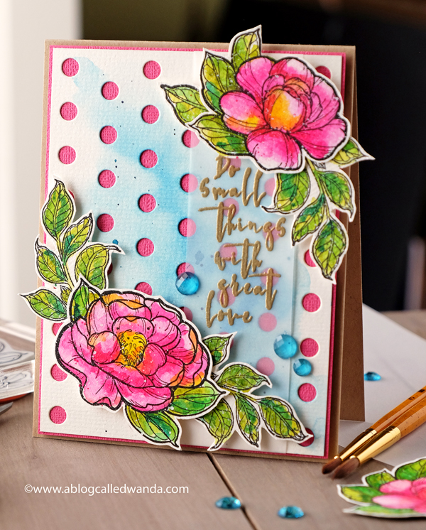 Spellbinders Peonies stamps. Stephanie Low Designs. Watercolors. FSJ Lots of Dots