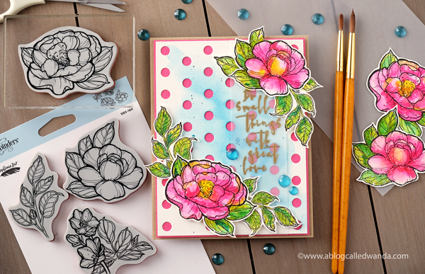 Spellbinders Guest Designer Wanda Guess. Stephanie Low Peony stamps with watercolors and embossing