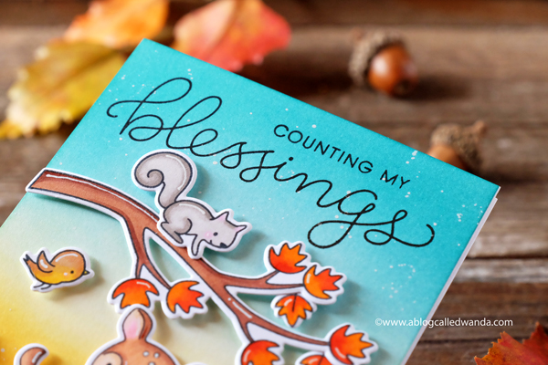 Thanksgiving card - Hello Bluebird stamps. Autumn script stamp set