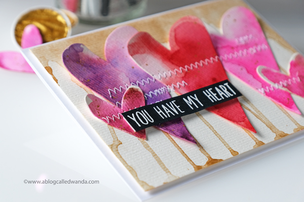 watercolor hearts with finetec gold background